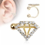 Crystal Diamond Shape Clip On Fake Helix Ear Cuff