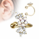Crystal Flower Vine Clip On Fake Helix Ear Cuff