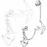 Swallow & Anchor Ear Cuff & Lobe Piercing Chain - Only One Standard Ear Piercing Required