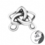 Celtic Knot Band Wrap Clip On Sterling Silver Helix Ear Cuff