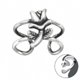 Enchanted Rose Band Wrap Clip On Sterling Silver Helix Ear Cuff