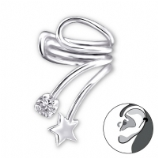 Star & Crystal Swirl Clip On Sterling Silver Helix Ear Cuff