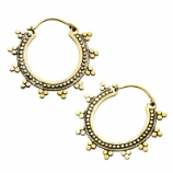 Solaris Casted Brass Ear Rings - Pair