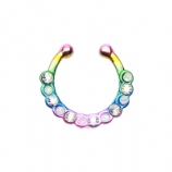 Rainbow & Iridescent Crystal Fake Septum Clip