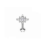 Crystal Paved Starburst Internally Threaded Micro Labret Stud - 1.2mm