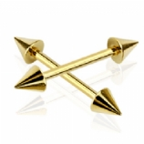 Gold Plated Plain Spike Nipple Bar