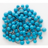 Synthetic Turquoise Stone Double Ball Belly Bar