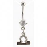 Libra Sign Zodiac Dangle Belly Piercing Bar