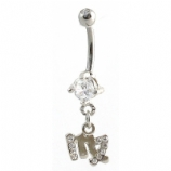 Virgo Sign Zodiac Dangle Belly Piercing Bar