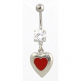 Cute Red Enamel Heart Dangle Belly Piercing Bar