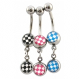 Chequer Double Logo Dangle Belly Piercing Bar