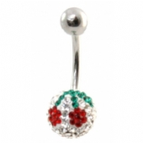 Cherry Discoball Crystal Belly Piercing Bar