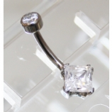 Anatometal White CZ Princess Cut Stone Belly Bar