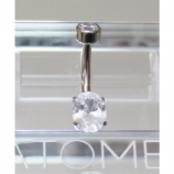 Anatometal White CZ Oval Cut Stone Belly Bar