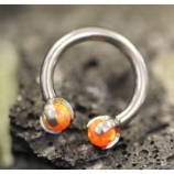 IN STOCK - Fire Orange - IS Titanium Circular Barbell With Faux Pal Ends