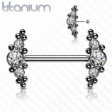 White Crystal & Bead Cluster Implant Grade Titanium Push Pin Nipple Barbell 1.6mm x 14mm