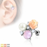 Flower and Pearl Stones Tragus Helix Bar
