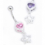 Heart & Flower Dangle Crystal Sterling Silver Belly Bar
