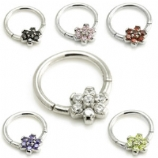 Crystal Flower Center Steel Hinged Segment Ring - 1.2mm