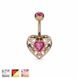 Crystal and Filigree Heart Shape Belly Bar