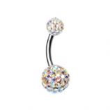 Double DiscoBall Crystal Belly Piercing Bar - Iridescent