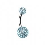 Double DiscoBall Crystal Belly Piercing Bar - Aqua