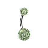 Double DiscoBall Crystal Belly Piercing Bar - Lime Green