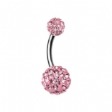 Double DiscoBall Crystal Belly Piercing Bar - Pink