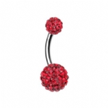 Double DiscoBall Crystal Belly Piercing Bar - Red