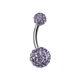 Double DiscoBall Crystal Belly Piercing Bar - Purple