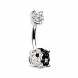 Yin Yang DiscoBall Crystal Belly Piercing Bar