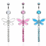 Long Crystal Dragonfly Dangle Belly Piercing Bar