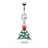 Green Enamel Tree Christmas Dangle Belly Bar
