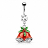 Bells and Mistletoe Christmas Dangle Belly Bar