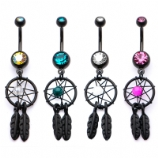 Black PVD Dreamcatcher Dangle Belly Piercing Bar