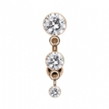 Rose Gold Triple Crystal Reverse Dangle Belly Bar