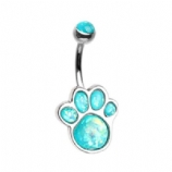 Animal Lover Opal Paw Print Belly Piercing Bar