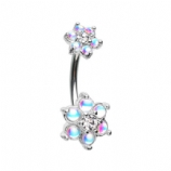 Reflective Stone & Crystal Double Flower Belly Bar