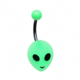 Green Acrylic Alien Face Belly Bar