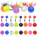 Eight Glitter Colour UV Belly Bars Value Pack