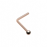 Rose Gold Plated Plain Ball Surgical Steel L-Bend Nose Stud