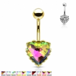 Prong Prism Heart Belly Bar