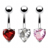 Small Crystal Heart Belly Bar