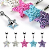 Star Discoball Crystal Studded Belly Bar - Purple