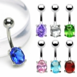 Small Crystal Oval Stone Belly Bar