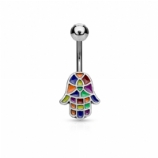 Rainbow Enamel Hamsa Hand Belly Bar