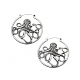 Octopus Plug Hoop Ear Rings - Pair