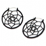 Black Web Plug Hoop Ear Rings - Pair