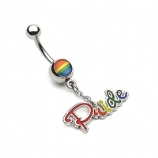 Rainbow Flag Gay / Lesbian Pride Dangle Belly Piercing Bar