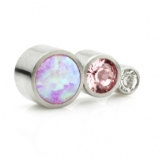 Pink Opal and Crystal 3 Arc Labret - Clear and Pink Crystal